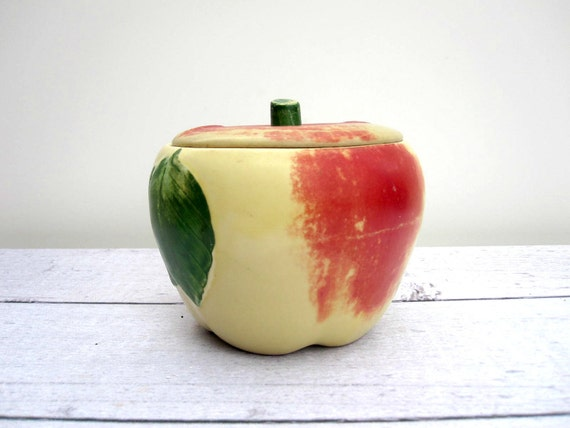 Apple Cookie Jar - Ceramic Art Pottery Jar - Mid Century Grease Jar - Mustard Yellow Red Green