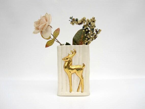 Woodland Deer Vase or Planter - Ivory Cream Gold - Mid Century Vase - Gold Reindeer