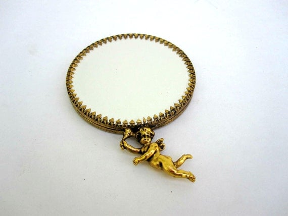 Compact Pocket Mirror - 2 Sided Magnifying Mirror - Gold Cherub Mirror for Her