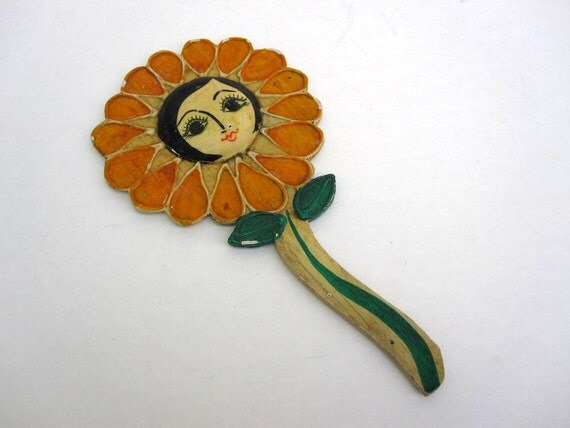 Sunflower Mirror - Handheld Folk Art Mirror - Girls Mirror
