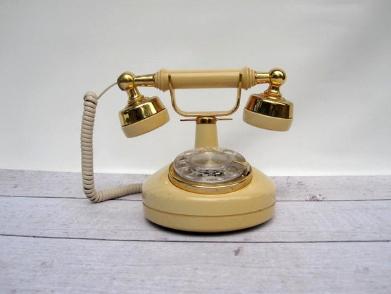 Rotary Telehone Cream & Gold - French Style Princess Phone - Working Condition Rotary Phone - Cottage Chic Decor