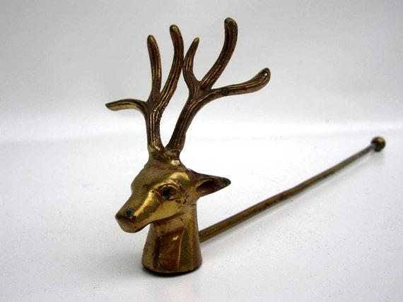 Mid Century Brass Deer Candle Snuffer - Buck with Antler Rack - Woodland Deer