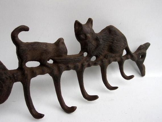 Cat Key Rack Holder - Rustic Wrought Iron - Cast Iron - Kittens on Fish Bone Skeleton
