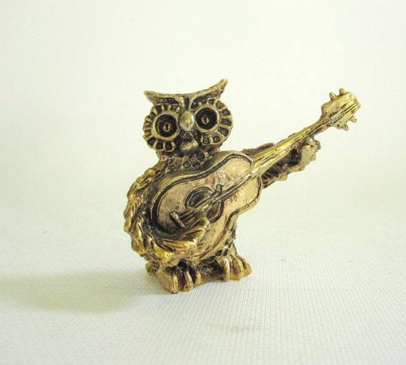 Guitar Musician Owl - Rock and Roll Owl Figurine - Brass Owl Statue