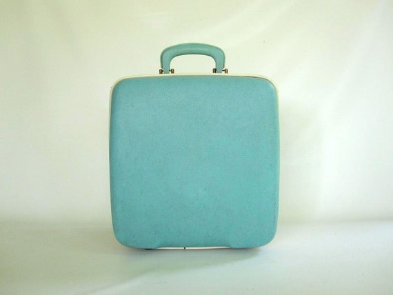 Aqua Blue Luggage - Mid Century Suitcase or Weekender Overnight Carry On Bag - Retro Turquoise Bowling Bag for Travel