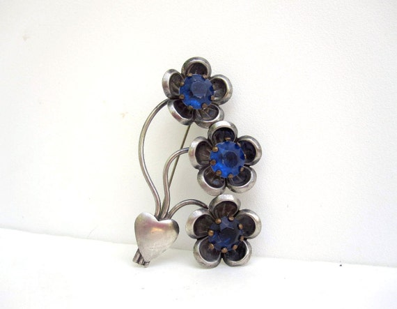 Flower Heart Brooch - Silver Tone and Blue Rhinestone Pin - Heart Bouquet