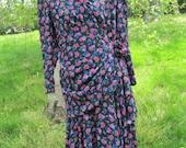 Size 10 dropped waist, side gather floral dress