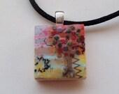 Red Tree Scrabble tile pendant
