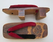 Vintage Japanese Geta Shoes Clogs Wood