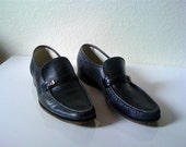 Vintage 70's MENS FLORSHEIM black leather dress shoes 11
