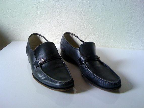 Vintage 70's MENS FLORSHEIM black leather dress shoes 11