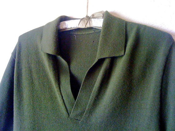 RESERVED for Jed Brooks Vintage mens 50's sweater SHIRT OLIVE green