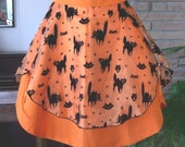 Retro Style Black Cats on Orange Halloween Half Apron