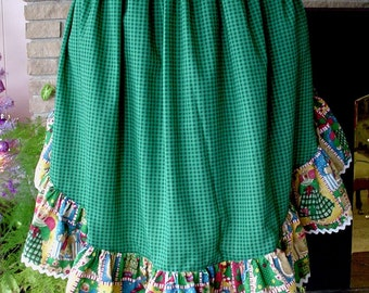 Gingerbread People with Green Gingham Holiday Christmas Half Apron