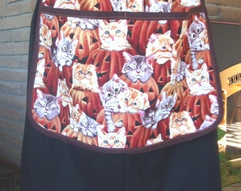 Cute Kitty Cats and Jack O Lanterns Halloween Half Apron