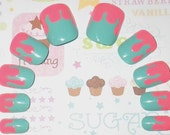 Glue On Nails: Cotton Candy Neon Sugar Drippy