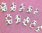 Stick On Nails Valentines Heart Leopard Print