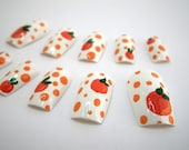 Glue On Nails Orange Fruit Polka Dot