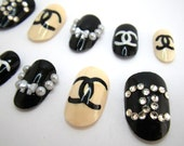 3D Glue On Nails:  French Chic Bows Rhinestones