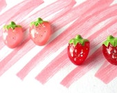 Earrings Strawberry Glitter Two Pairs Pink Red
