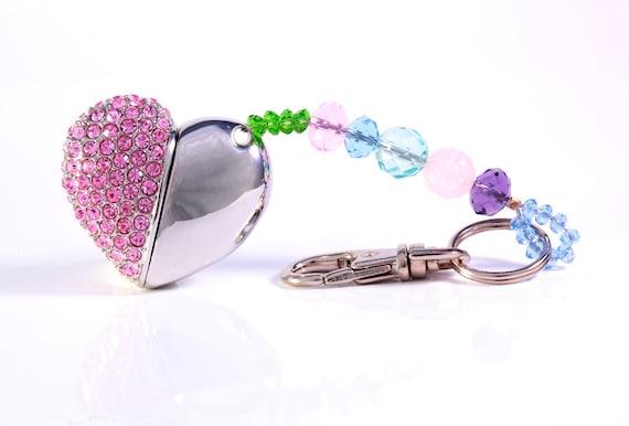 Mango Frooty Designed Bling Silver Heart USB Flash Drive Key Chain 4GB