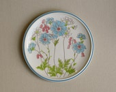 2 Vintage Bright Floral Dinner Plates