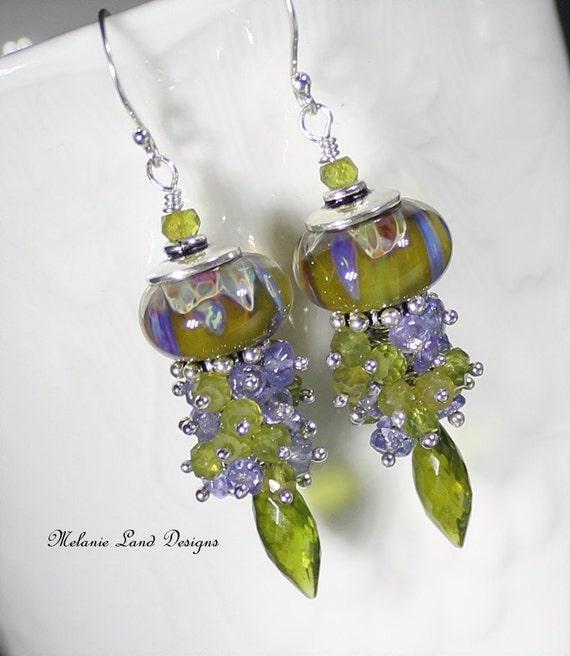 LAVENDER GRASS --Artisan Lampwork, Tanzanite, Vessonite,Solid Sterling Silver Earrings