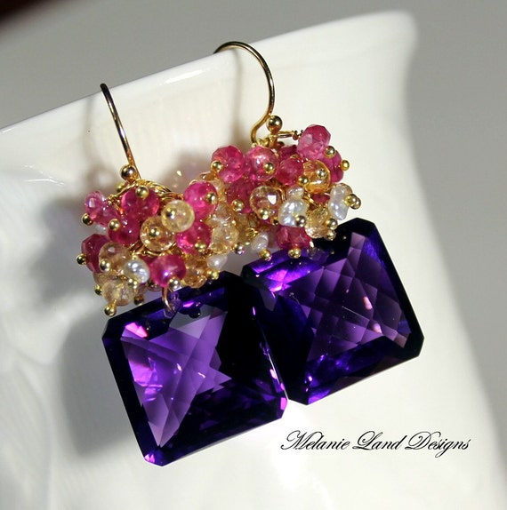 RESERVED - SWEET INDULGENCE - Purple Amethyst, Imperial Topaz, Pink Sapphire Gold Earrings