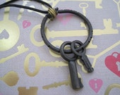 Keys to My Heart - Industrial Chic Steampunk Style Keys on a Leather Necklace