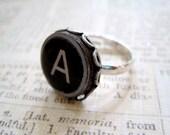 Typewriter Key Initial Ring - Made to Order - Keys Mounted in 15mm filigree silver adjustable ring bezel