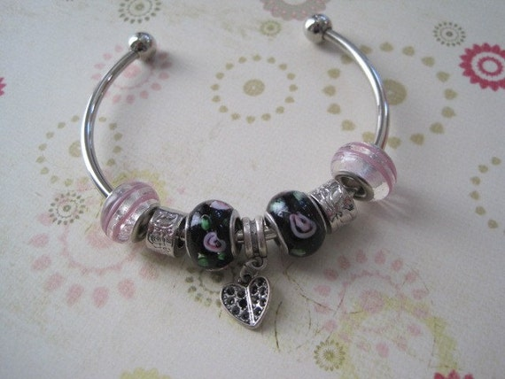 Silver Cuff Charm Bracelet With Clear Pink Beads, Purple Flowered Beads, Metal Beads and Metal Heart Charm