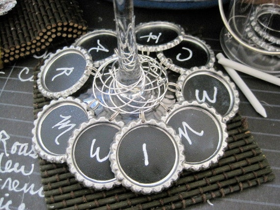 NEW - 6 Table Talk Chalkboard Wine Charms In Mini Clear Paint Can and with Chalk  For Parties, Weddings, Place Settings PRIORITY SHIPPING