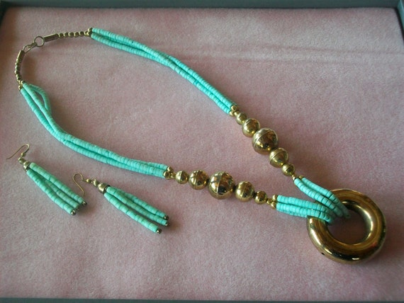 Turquoise Heishi Bead Brass Ring Necklace~Matching Earrings