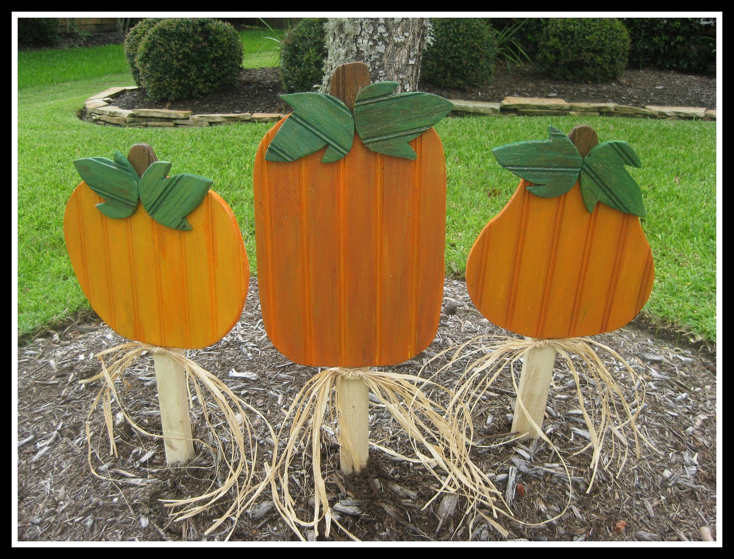 Wood pumpkin fall decoration yard stake art