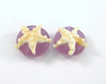 Frosted Lavender Starfish pair by Mystic Moon Beads SRA U5
