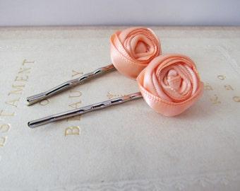 Peach Rosette Hairpins | Peach Rosette Bobby Pins
