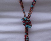 Seed bead & chain necklace- beachy turquoise, red and bronze