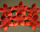 Six Red Origami Flowers