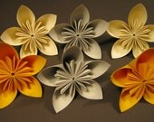 Six Yellow, Cream and Grey Origami Flowers