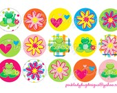 Frogs & Flowers Bottle Cap Images 4x6 Printable Collage