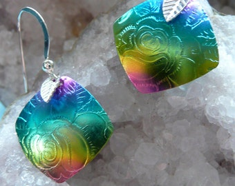 Niobium jewelry, Floral Rose jewelry, handmade earrings, hypoallergenic , gift ideas, peacock color earrings