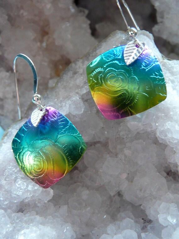 Niobium jewelry, Floral Rose jewelry, handmade earrings, hypoallergenic , gift ideas, peacock color earrings