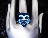Gothic Black Magic Owl Adjustable Silver Plated Acrylic Ring