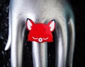 Kawaii Gerome the Sleepy Red Fox Adjustable Silver Plated Acrylic Ring