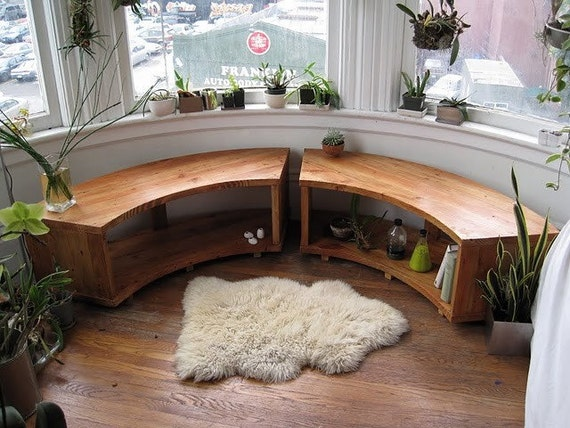 Curved Bay Window Bench, Recycled Douglas Fir