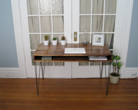 Jeremiah Collection Mid Century Desk With Hand-Welded Hairpin Legs