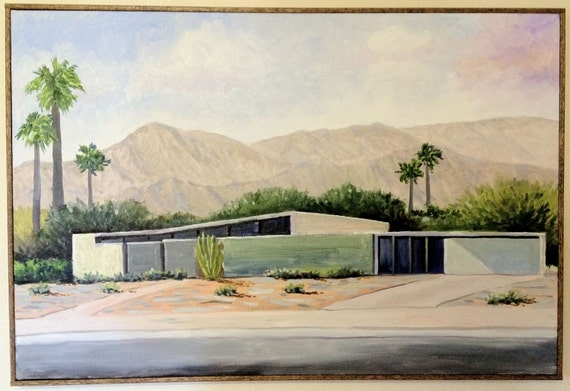 Palm Springs Mid-Century Home Series,  Oil Painting By Dean Nielson