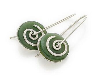 Silver Greenstone Spiral Drop Earrings