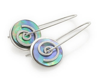 Silver Paua Spiral Drop Earrings