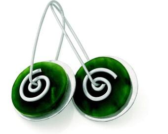 Silver Greenstone Spiral Drop Earrings (Large)